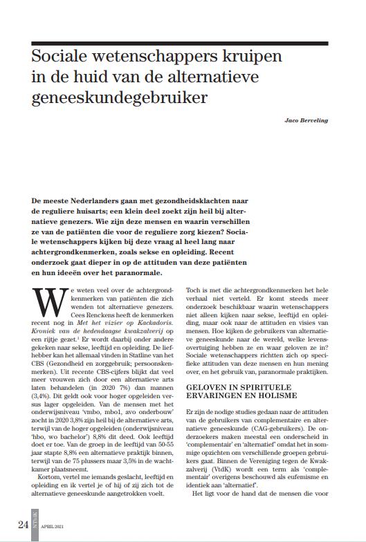 Tijdschrift tegen kwakzalverij 1-21 Berveling